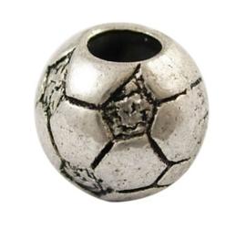 5 x Tibetaans zilveren European Jewelry bedel voetbal 11 x 4,5mm gat: 4,5mm