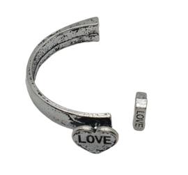 Halve armband met hart metaal