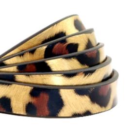 1 meter plat 10 mm imi leer leopard print Gold