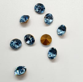 10 x Swarovski puntsteen SS24 Gold Foiled Aquamarine 5,2mm