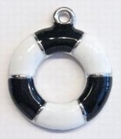 Per stuk Metalen hanger boei met zwart/witte epoxy 30 mm