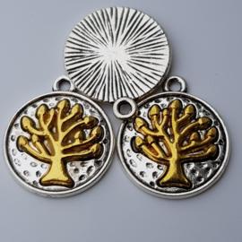 1x Tibetaans zilveren hanger van een gouden boom 23 mm x 20 mm oogje: 2 mm