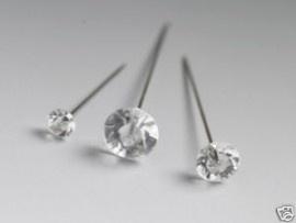 25 stuks Diamant spelden doorsnede kop 10mm diamant 55mm pen met scherpe punt