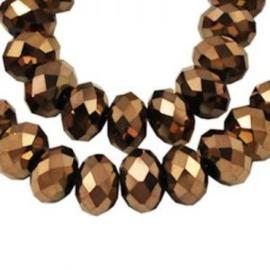 15 x Topfacet 8x6 mm Gold Copper