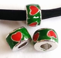 Per stuk European Jewelry kraal rond groen met rode hartjes antiek zilver 11 mm