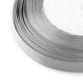 2 meter satijnlint 10mm breed, zilver grijs