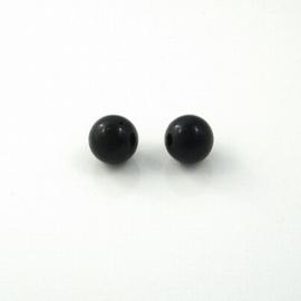 5 x  Natuursteen kraal zwart 16mm gat: 2mm