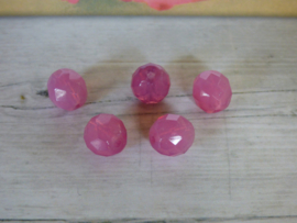5x Roze facet glaskraal ca. 10mm x 9.5mm  Gat: 1,4mm