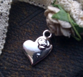2x Zilveren metalen hanger hart 21 mm