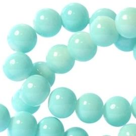30 stuks keramische glaskralen 4mm  Licht aqua blauw