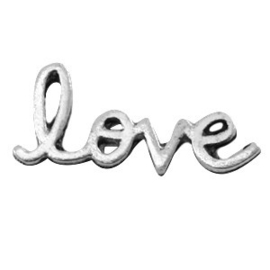 10 x Inspirational words Love Antiek zilver 20x8 mm