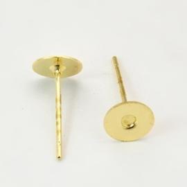 10 stuks oorstekers, goudkleur maat 10mm lang 0,6 dik en kop Ø 6mm (geen stopper bijgeleverd!)