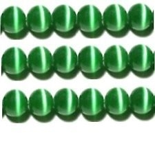 10 Stuks Glaskraal cat-eye groen 8 mm