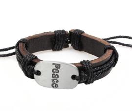Runderlederen armband verstelbaar peace kleur zwart