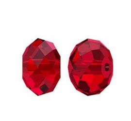 10 x  Briolette kristal kraal 8 x 6mm rood