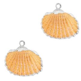 1 x Schelp hangers specials Kokkel Silver-Nectarine orange