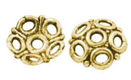 10 x Tibetaan zilveren kralenkapjes kleur goud 8 x 2mm gat 1,5mm