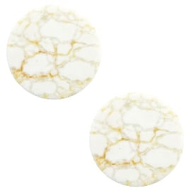 1 x Cabochon basic plat stone look 12mm White-beige brown