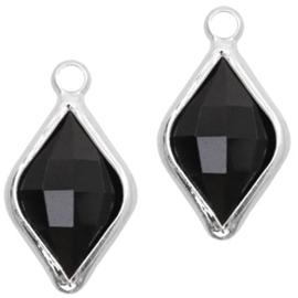Per stuk Hangers van crystal glas rhombus 10x14mm Jet black-silver