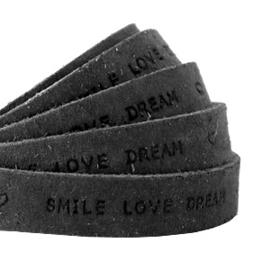 """Per 20 cm Plat 10 mm DQ leer met """"smile love dream"""" print Vintage black"""