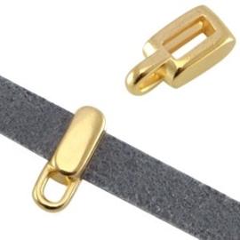 1x DQ metaal schuiver met oog rechthoek (voor 5mm plat leer) Goud 8x5x4 mm Ø5.2 x 2.2 mm