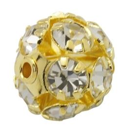 2x Vergulde kristal bal 10mm