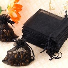 c.a. 100 stuks mini organza zakjes 5 x 7 cm zwart