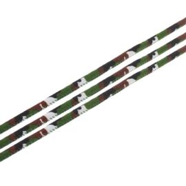 20 cm Trendy gestikt koord 7 x 6mm camouflage groen