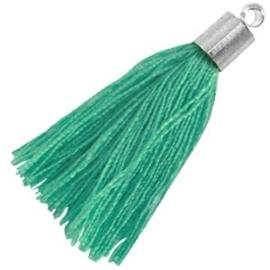 2 x Kwastje met zilverkleurige eindkap Turquoise groen 34 mm