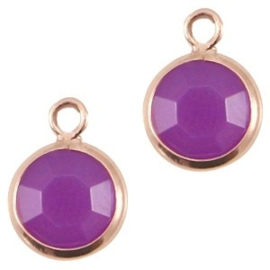 2 x DQ facethanger gekleurd Rose gold-violet purple 7x10 mm