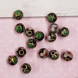 10 mooie handgemaakte cloisonne kralen mix 6mm zwart groen