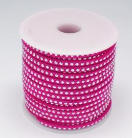 1 meter Imitatie leer 3mm met zilver aluminium studs deep pink