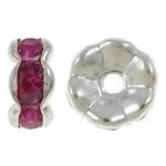 50 stuks Verzilverde Kristal Rondellen 7 mm Roze