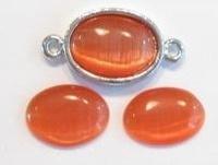 10 x Plaksteen glas cate-eye ovaal oranje 10 x 14 mm