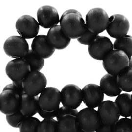 40 x Houten kralen rond 6 mm Black