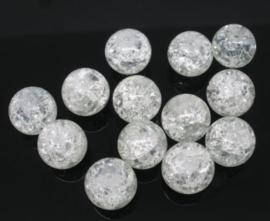 10 stuks  grote crackle kraal 14mm gat c.a. 1,5mm transparant