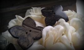 4 x houten kraal knoop bloemmotief 25 mm