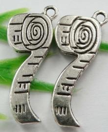 5 x tibetaans zilveren centimeter band  27 x 10,5mm x 1,5mm gat: 2mm.