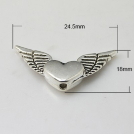 10 x  Tibetaans zilveren engelen vleugel kraal 24,5 x 18 x 4mm Gat: 2mm