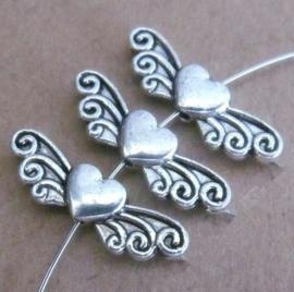 5 x Tibetaans zilveren Engelen vleugeltje 24 x 7 x 4mm gat: 1,5 mm