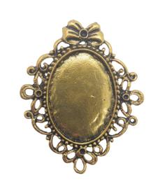 Houder S: Prachtige Caobochon houder antiek goudkleur. Binnenzijde: 24 x 33mm