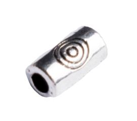 10 x metalen buiskraal zilver kleur 5,5 x 3mm gat: 1,5mm