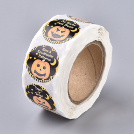 1 rol 500 stickers Wensetiket zegel rond 25mm Halloween