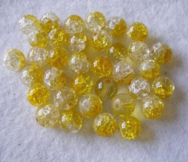 30 x Crackle kraal  8mm Gat: 1mm geel transparant