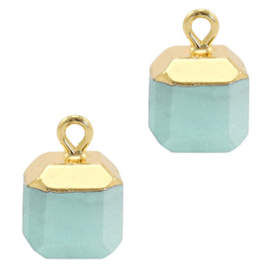 1 x Natuursteen hangers square Icy morn blue-gold Jade