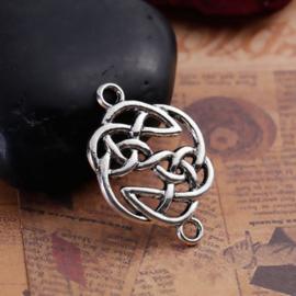 Tibetaans zilveren tussenzetsel  Keltische oneindige knoop 29 x 20mm