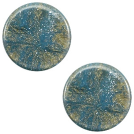 1 x 7 mm platte cabochon Polaris Elements Stardust Blue shade