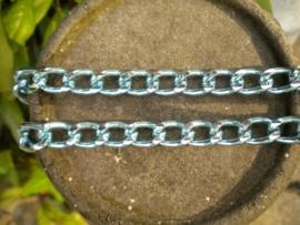 90 cm prachtige Jasseron licht blauw-zilver schakel 8 x 12 mm