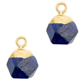1 x Natuursteen hangers hexagon Dark blue-gold Lapis Lazuli