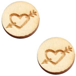 3 x Houten cabochon basic 12 mm heart&arrow White wood ( natuurlijke kleur van het hout)